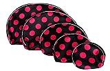 Premsons Black & Pink Polka Dots 5Pcs Pouch Set By Premsons