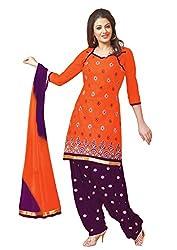 Salwar Studio Orange & Violet Dress Material with Dupatta RP-1011