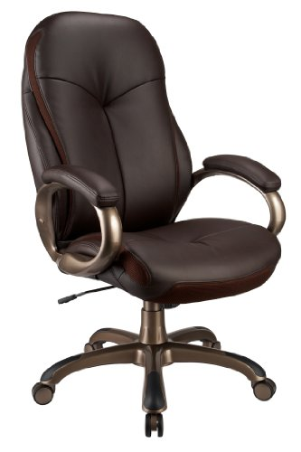 Office Star Executive Espresso Eco Leather Chair with Locking Tilt Control and Cocca Base