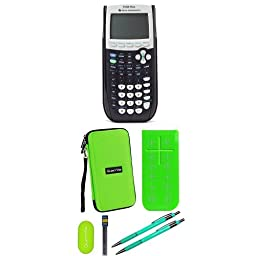 Texas Instruments TI-84 Plus Graphing Calculator With Travel Case And Essential Graphing Accessory Bundle, Green