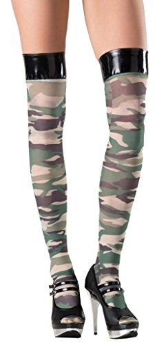 Costume Adventure Women's Green Army Camouflage Thigh High Stockings