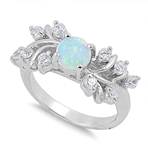 Sterling Silver 10mm Created Opal Ring (Size 5 - 10) - Size 9