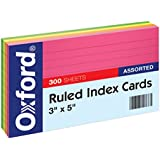 "Oxford Ruled Index Cards, 3"" x 5"" Size, Assorted Glow Colors, 300 per Pack (81300)"