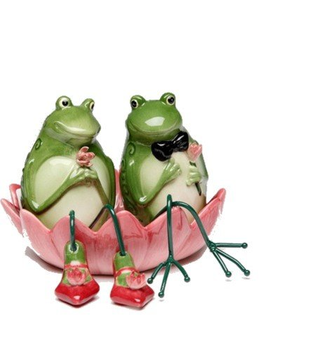 Appletree Design Alfrogo and Frogalina Frog Salt and Pepper Set, 3-1/4-Inch, 3-Piece