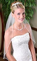 Wedding Bridal Veil, Rhinestone, 1 Layer Fingertip 433F