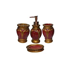 Dream bath burgundy latern bath ensemble 4 for Red bathroom accessories