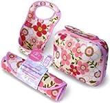 Bibetta Baby Bib Changing Mat Reversabag Gift Set PINK Floral