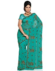 Utsav Fashion Women's Aqua Blue Faux Georgette Saree with Blouse