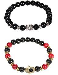 Outdazzle Buddha & Evil Hand Designer Men Bracelet- Set Of 2