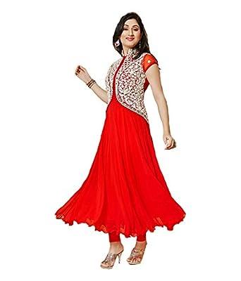 Mannat Fashion Women's red Georgette Long Unstitched Salwar Suit Dress Materialÿ001