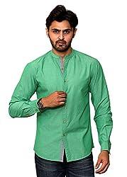 Rafters green full sleeves men's slim fit casual shirt