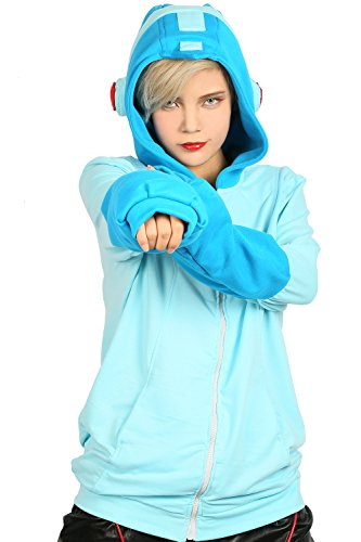 [XCOSER Mega Man Sweatshirt Hoodie Jacket Halloween Costume Zip Up M] (Adult Megaman Costumes)