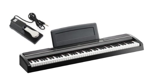 Korg Sp170S 88-Key Black Digital Slab Piano With Built-In Speakers And On Stage Keyboard Sustain Pedal