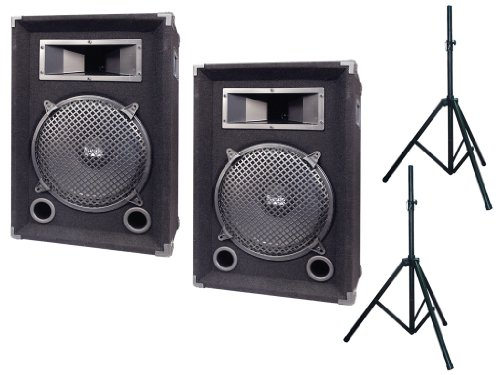 """Pyramid Deluxe Speaker/Stand Package For Djs/Office/Schools/Public -- Pair Of Pmbh1239 300W 2-Way 12"""" Speaker Cabinet + Pair Of Pstnd2 6Ft. Tripod Speaker Stand."""