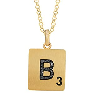 Gold Plated Sterling Silver .06 CTW Black Diamond Letter