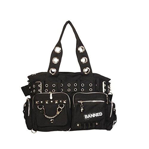 Banned Alternative Wear, Borsa a mano donna Nero nero Einheitsgröße