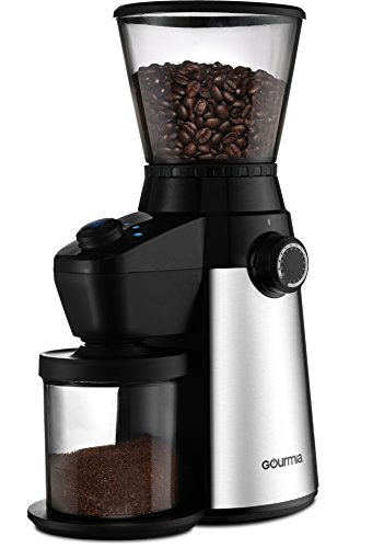 Gourmia GCG195 Electric Coffee Grinder - Rapid Grind, Professional Heavy Duty Stainless Steel, Conical Burr - Ultra Fine Grind, Adjustable Cup Size, 15 Fine / Coarse Grind Size Settings