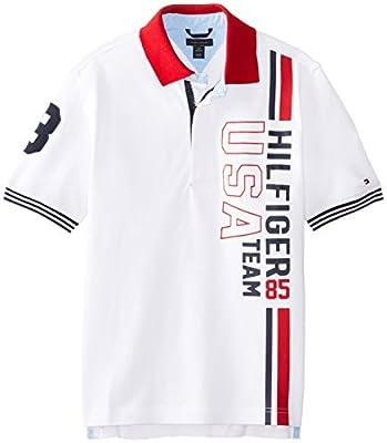 Tommy Hilfiger Big Boys' Short Sleeve Brice Polo, White, Medium