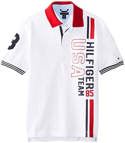 Tommy Hilfiger Boys 8-20 Short Sleeve Brice Polo, White, Medium