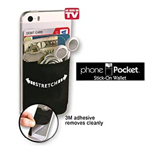 Phone Pocket with RFID blocking technology - 2-Pack - As Seen On TV - Stick On Wallet for all iPhone, iPod Touch, Galaxy S & Android smart phones - Black