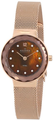 Skagen Women's 456SRR1 Rose-Gold Stainless-Steel Quartz Watch with Mother-Of-Pearl Dial