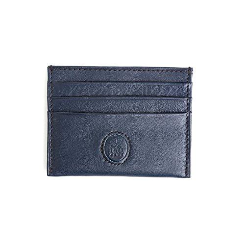 Porta Carte Di Credito Sottile Mini Id Biglietti da Visita in Vera Pelle Slim 6 tasche Nuvola Pelle Blu