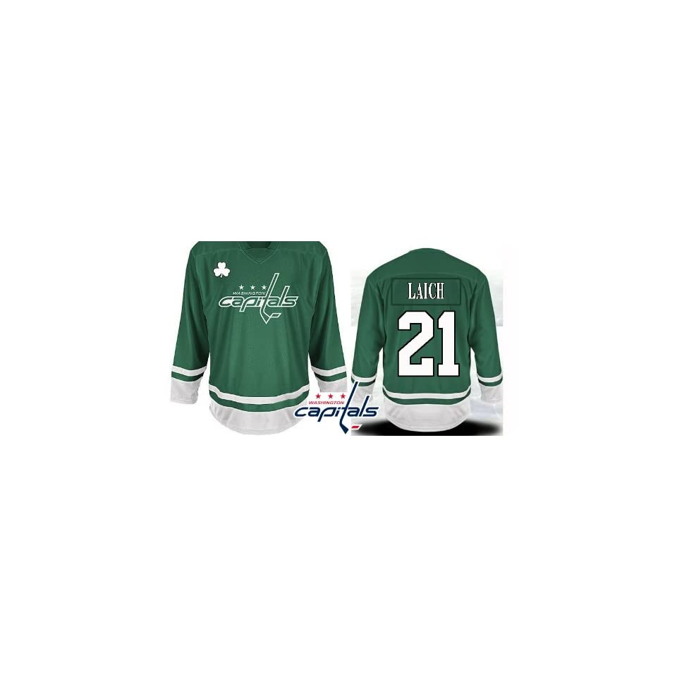 eb2477083fb St Pattys Day EDGE Washington Capitals Authentic NHL Jerseys Brooks Laich  Hockey Jersey (ALL are Sewn On)