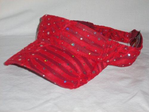 Adjustable Red Glitter Visor