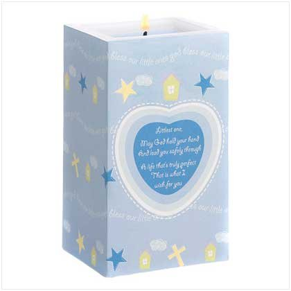 Nursery Blessing Blue Wax Candle Boy Vanilla Scented