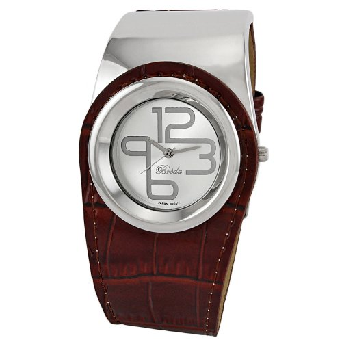 """Breda Women's 3174_brown """"Alicia"""" Crocodile Pattern Leather and Metal Band Watch"""