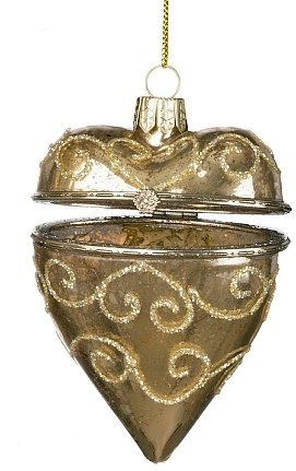 Hinged Glass Heart Christmas Ornament, Antique Gold