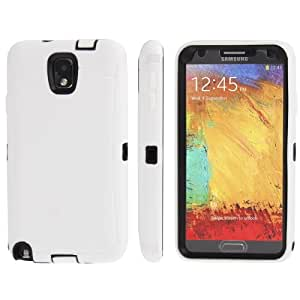 Silicone + Screen Protector + Plastic Combination case for Samsung Galaxy Note 3 N9000 in White