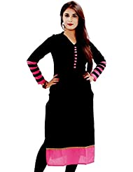 Jashvi Creation Women's Pure Cotton Kurti (kurtas_Free Size_Black)