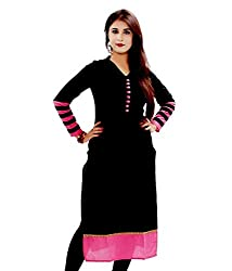 Fashion Galleria Women's Cotton Semi-Stitched Kurti(FGSB_BLACK)