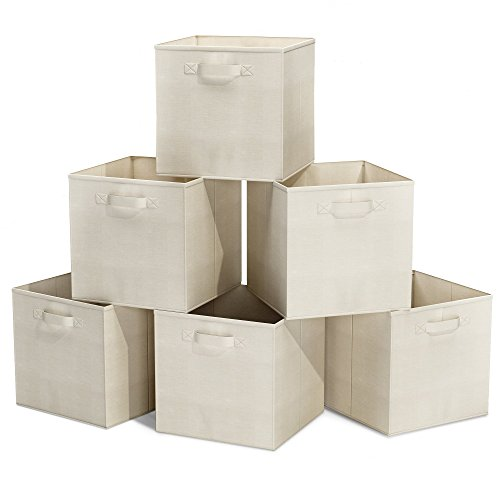 Closet Organizer - Fabric Storage Basket Cubes Bins - 6 Beige Cubeicals Containers Drawers (Foldable Drawer Storage Unit compare prices)