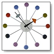 Metal Wood Ball Clock Retro 1960's Multi Color Primary