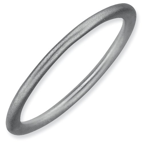 Sterling Silver Stackable Expressions Rhodium Satin Ring (Size 9)