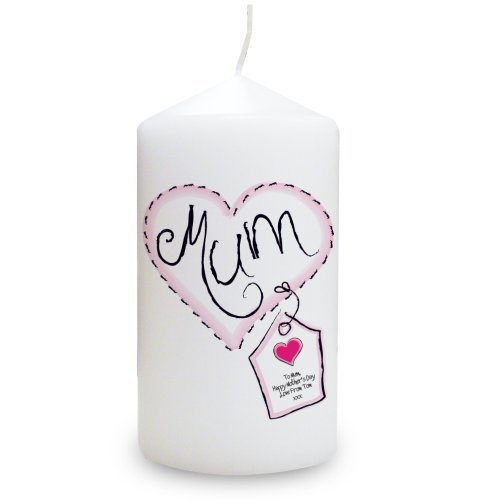Heart Stitch Mum Candle. This is a great product that can be personalised to your requirements ( please see main discription for full details ) Ideal gifts and presents for weddings, Christenings, Birthdays, Christmas etc...