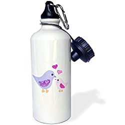 3dRose wb_120280_1 Cute Purple Mom Bird and Pink Baby Chick Daughter Girl-Kawaii Mother and Child Birds-Mothers Day Sports Water Bottle, 21 oz, White