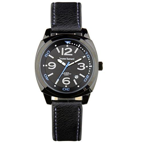 Bruno Banani Men's Quartz Watch Ketos Leather Bracelet Black Dial schwarz Trend Watch UBR30020