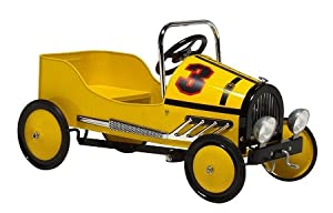 Retro Style Steel Pedal Car YELLOW by KIDWISE