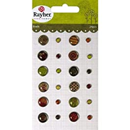 RAYHER - 7914200 - Tachuelas: Vintage, varios diseños, {2} tamaños, 0.5-1cm Diámetro, una tarjeta de 24 pcs, SB-diseño. 1 tarjeta