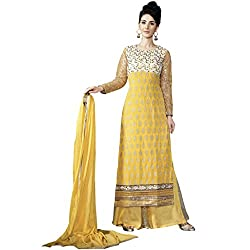 Party Wear Yellow Colored Poly Georgette Suit