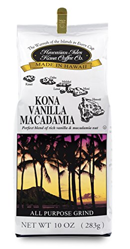 Hawaiian Isles Kona Coffee - Vanilla Macadamia Nut - 10 oz. (Hawaiian Coffee Kona compare prices)