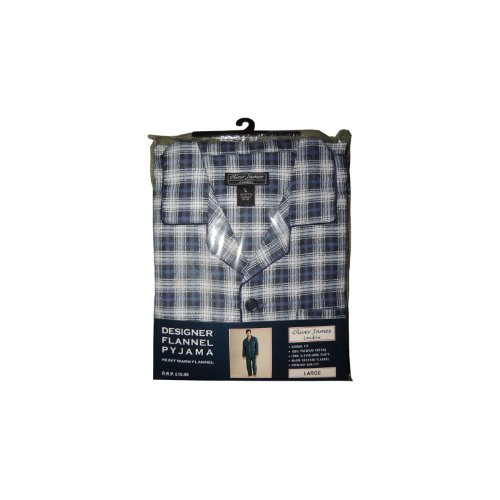 Oliver James 100% Cotton Mens Flannel Pyjamas Blue XXL