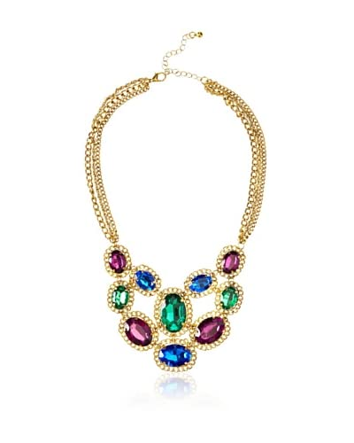Sparkling Sage Chain Edged Multi-Stone Bib Necklace, Gold/Emerald As You See