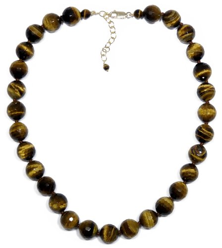 14k Yellow Gold Filled 12mm Faceted Tiger-Eye Bead Necklace, 16