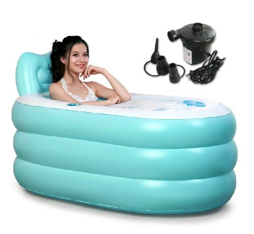 Buy Cheap Pixnor New Fashion Adult SPA Inflatable Bath Tub with Air Pump (Blue Large + Electric pump...