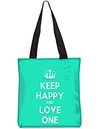 Snoogg Keep Calm And Love One Fashion Printed Shopping Shoulder Lunch Tote Bag For Women