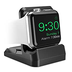 MoKo Premium Scratch Resistant Charging Dock with Non slip Base & Multiple Wire Slot Compatible with Nightstand Mode for Apple Watch Black
